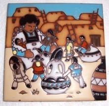 "EARTHTONES ""AMERICAN INDIAN WOMAN & CHILDREN"" TILE  ART - $36.24"
