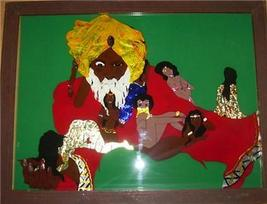 EAST INDIAN MAN & WOMEN IN HAREM ASIAN EROTICA FOIL ART - $191.99