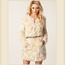 Velvety Soft Luxury Lamb Faux Fur Medium Length Coat Jacket with Covered Buttons