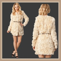 Velvety Soft Luxury Lamb Faux Fur Medium Length Coat Jacket with Covered Buttons image 2