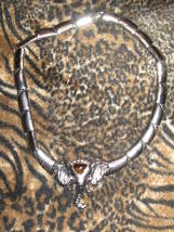 Silver Bar Necklace w/ Amber crown Elephant - $19.95