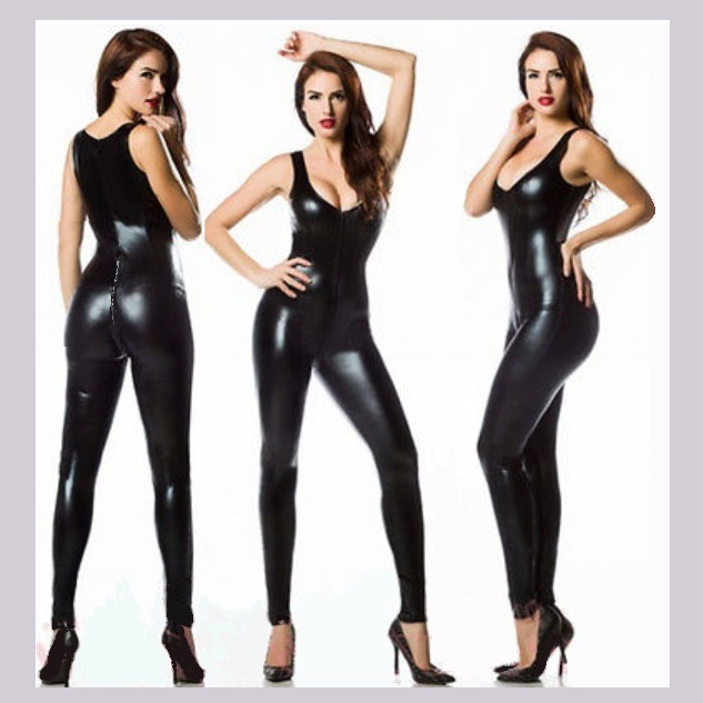 Wet Look Faux PLeather Sleeveless Catsuit with Zipper Around Front to Back Waist