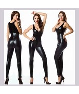 Wet Look Faux PLeather Sleeveless Catsuit with Zipper Around Front to Ba... - $63.95