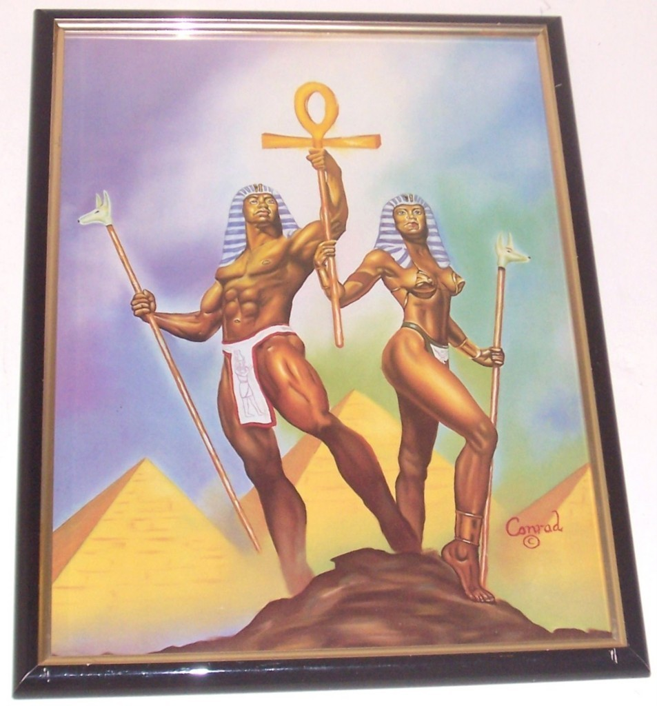 EGYPTIAN KING QUEEN BLACK AFROCENTRIC ART KEMET CONRAD