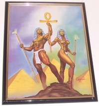 EGYPTIAN KING QUEEN BLACK AFROCENTRIC ART KEMET... - $191.55