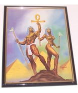 EGYPTIAN KING QUEEN BLACK AFROCENTRIC ART KEMET CONRAD - $191.55
