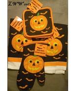 Orange jack-o-lantern Pumpkin Halloween towels pot holders & oven mitt - $9.99