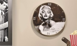 "13"" Marilyn Monroe Design Wall Clock Black & White  Replica Autograph"