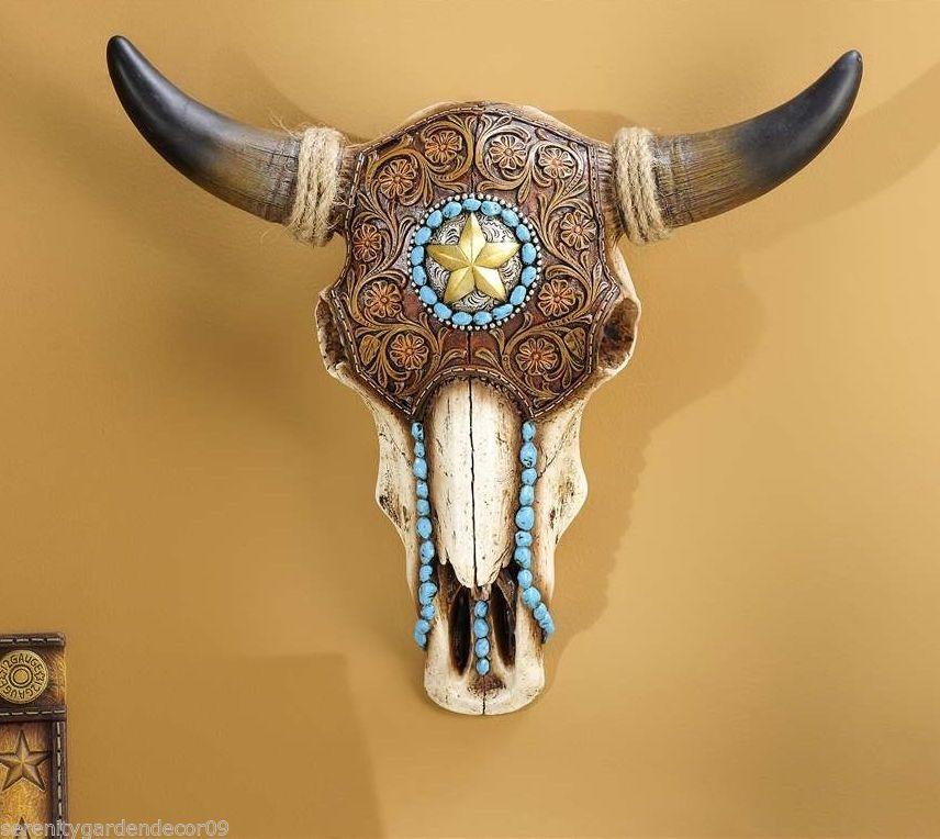 13 2 Ox Skull Wall Decor Western Inspired Polyresin