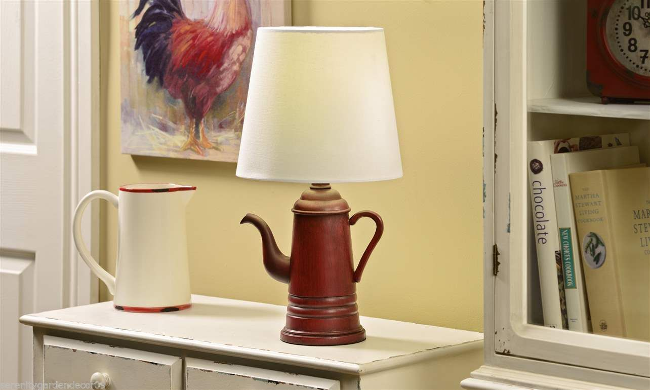 "20"" Antique Vintage Coffe Pot Design Table Lamp with Shade NEW"