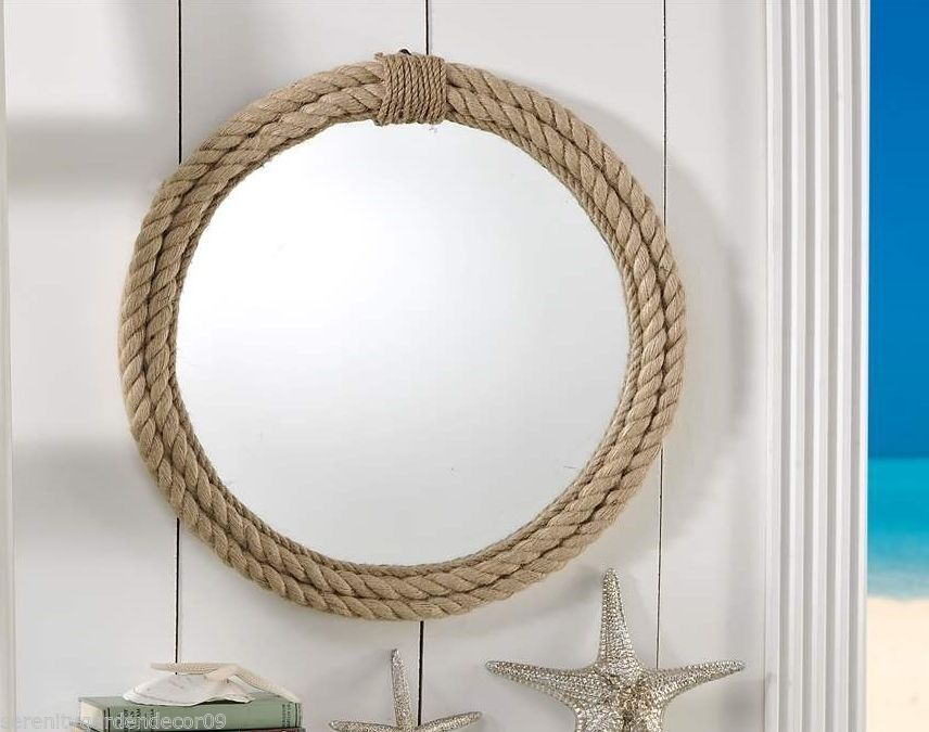 "Nautical Wall Mirror 20"" nautical wall mirror with hemp rope detailing rustic frame"