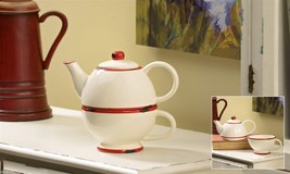 White Ceramic w Weathered Red Trim Tea for one Set - 10.5 oz Pot  - Cup - 5.7 oz