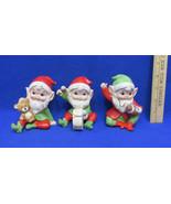 Homco Elves Elf Figurines Santas Helpers 5618 CeramicSet of 3 Toys Chris... - $12.86
