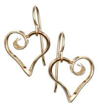 12 KARAT GOLD FILLED CURLY HEART DANGLE EARRINGS - $29.00