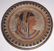 Egyptian Goddess Queen Cleopatra Nefertiti Brass & Copper Wall Plate Kemet - $191.99