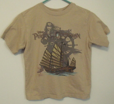 Boys Disney Beige Short Sleeve T Shirt Jack Sparrow Pirates of the Carib... - $5.95
