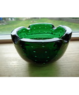 Vintage Murano Glass Emerald Green Controlled B... - $48.00
