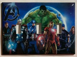 Captain America Iron Man Hulk Comic Hero Light Switch Outlet Cover Plate decor image 4