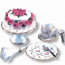 DOLLHOUSE Tea Time Set Reutter 1.664/8 Gold Crosshatch Miniature - $22.56