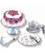 DOLLHOUSE Tea Time Set Reutter 1.664/8 Gold Crosshatch Miniature - $22.75