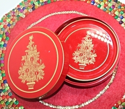 Vintage Otagiri Japan Red and Gold Christmas Tree Coasters in Box - $12.50