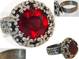 Vintage gothic W German Jeweled RED stone ring  - $29.99