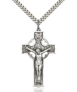Men's Bliss Large Sterling Silver Crucifix Pendant Necklace 5460SS/24S - $65.50