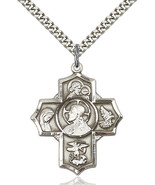 Men's Bliss Large Sterling Silver Sacred Heart 5-way Cross 5716SS/24S 57... - $59.00