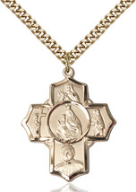 Men's Bliss Large Gold Filled Carmelite 4-way Cross Pendant Necklace  - $127.00