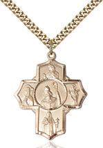 Men's Bliss Large Gold Filled Irish 5-way Cross Pendant Necklace  - $147.50