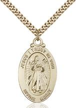 Men's Bliss Large Gold Filled Divine Mercy Medal Pendant Necklace 4145DMGF/24G - $147.50