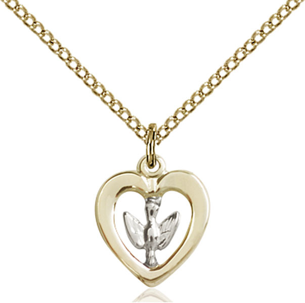 Bliss Small Two Tone GF/SS Holy Spirit Medal Pendant Necklace  3146SS/GF/18GF