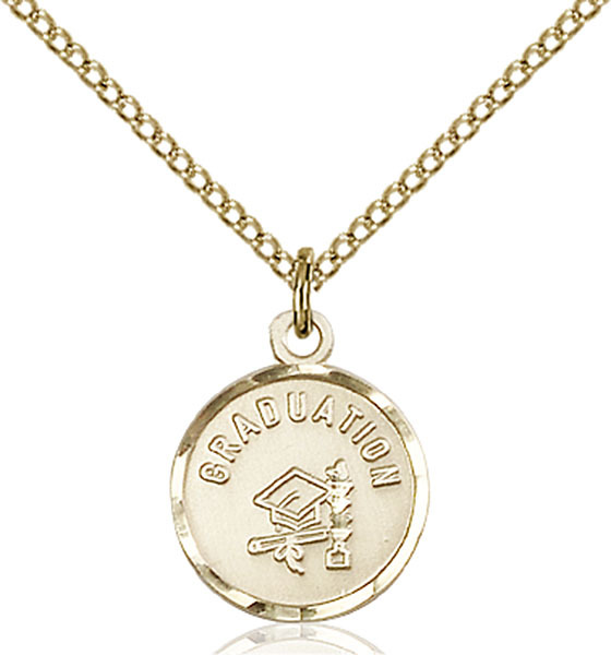 Primary image for Bliss Small Gold Filled Graduation Medal Pendant Necklace  0601ZGF/18GF