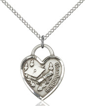 Women's Bliss Sterling Silver Graduation Heart Medal Pendant Necklace  - $56.00