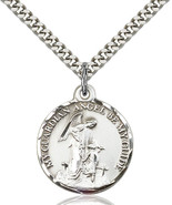 Men's Bliss Sterling Silver Guardian Angel Medal Pendant Necklace 0341SS... - $62.00