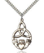 Men's Bliss Large Sterling Silver Irish Knot Claddagh Medal 5102SS/24S - $43.00