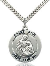 Men's Bliss Large Sterling Silver St. Ann Medal Pendant Necklace  - $64.00