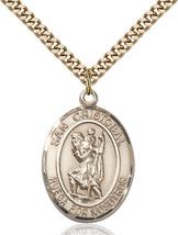 Men's Bliss Gold Filled San Cristobal Medal Pendant Necklace 7022SPGF/24G - $132.50