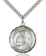 Men's Bliss Sterling Silver St. Jude Medal Pendant Necklace 7060RDSS/24S - $64.50
