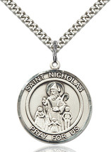 Sterling Silver St. Nicholas Medal Necklace For Men 7080RDSS/24S - $58.50