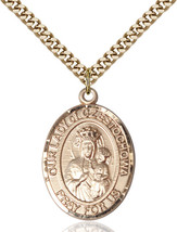 Men's Bliss Gold Filled Our Lady Of Czestochowa Medal Pendant Necklace  - $132.50