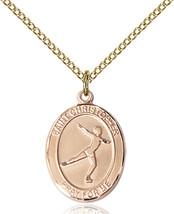 Women's Bliss GF St. Christopher Figure Skating Sports Medal Pendant Nec... - $1.939,95 MXN