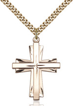 Men's Bliss Large Gold Filled Cross Pendant Necklace 0677YGF/24G - $71.00