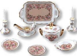 DOLLHOUSE Classic Rose Dinner Set for 2 Reutter Porcelain 1.384/8 NRFB 1:12 - $35.50