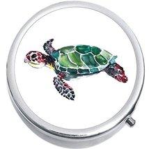 Watercolor Sea Turtle Medicine Vitamin Compact Pill Box - $9.78