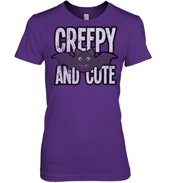 Funny Halloween Tshirt Creepy Cute Vampire Bat Vintage