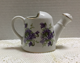 Vintage Small Porcelain Watering Pot Purple Violets Rubel Japan Vase Pla... - $8.90
