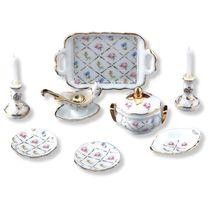DOLLHOUSE Crosshatch Dinner Set/ 2 Reutter Porcelain Miniature 1.378/8 NRFB 1:12 - $35.50