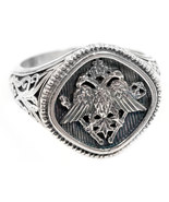 Gerochristo 2815 -  Double Headed Eagle -Byzantine Silver Ring  / size 7 - $240.00