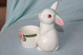 Avon Porcelain Bunny with Flower Pot Tea Candle Holder - $4.99